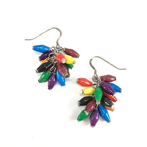 Paper Bead Cluster Musana Earrings - Multicolored - Fair Trade BeadforLife Jewelry from Africa