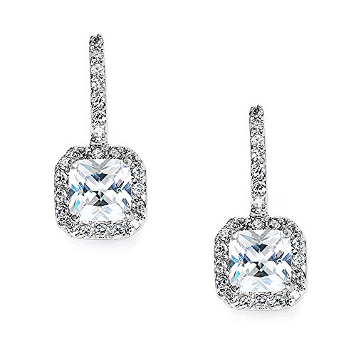 Earrings Cubic Zirconia Drop - Mariell Art Deco Radiant-Cut Cubic Zirconia Bridal Dangle Earrings - Vintage Wedding CZ Drop Earrings