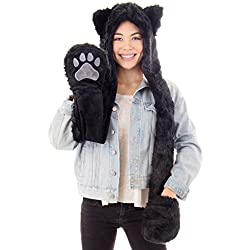 Simplicity ultifunction Animal Hats as Earmuffs, Scarf, Gloves, Black Cat,One Size