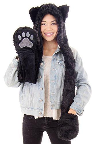 Black Cat Hat - Simplicity ultifunction Animal Hats as Earmuffs,