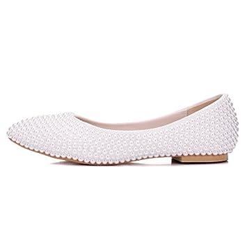 Mujer Boda Nupcial Zapatos Mocasines Blanco Pisos Perla Ponerse Zapatillas Resplandecer Bajo Talones Señoras Ballet Tamaño 35-42: Amazon.es: Deportes y aire ...