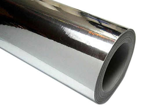 24'' x 10 ft Roll of Silver(Chrome Mirror) Repositionable Adhesive-Backed Vinyl for Craft Cutters, Punches and Vinyl Sign Cutters by Picniva