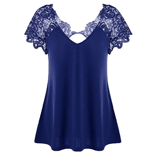 Womens T-Shirt Fashion Blouse V-Neck Plus Size Lace Short Sleeve Trim Cutwork Tops -