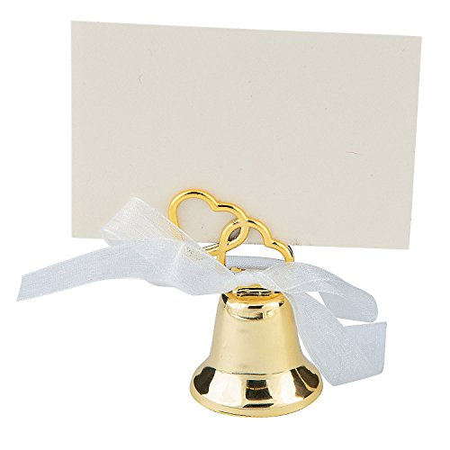 Gold Two Heart Wedding Bell Place Card Holders (12 Pack) Metal. (12)