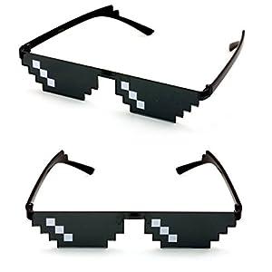 V.W.E. 2 Pairs Deal With It Glasses - Thug Life Unisex Black Sunglasses 8 Bit Pixel (3 dot)