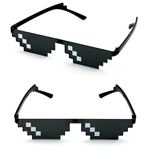 V.W.E. 2 Pairs Deal With It Glasses - Thug Life Unisex Black Sunglasses 8 Bit Pixel (3 - Meme Sunglasses