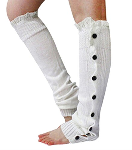 Menglihua Womens Christmas Warm Knit Lace Buttons Boot Socks Topper Cuff Leg Warmers White One Size (White Fluffy Leg Warmers)