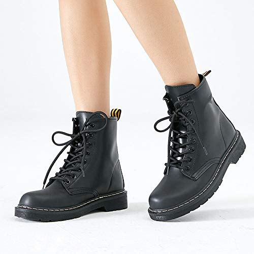 Frauen Toe Für Martens Stiefel Runde up Stiefeletten Kampf Frauen LIANGXIE Fashion Lase Lace Stiefel Booties Mode Schuhe Warme up Schwarz Leder Damen EwFUTqPx