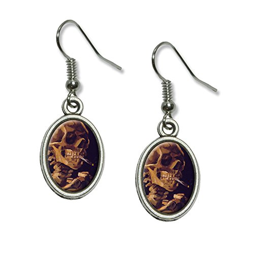 Skull With a Burning Cigarette - Van Gogh Novelty Dangling Drop Oval Charm Earrings