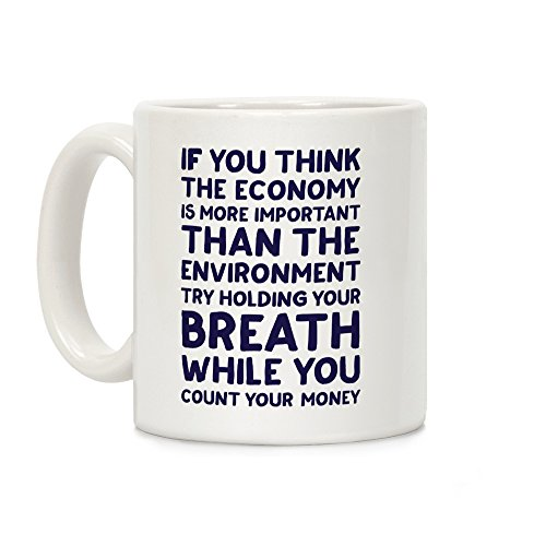 LookHUMAN Try Holding Your Breath White 11 Ounce Ceramic Coffee Mug