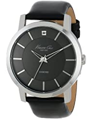 Kenneth Cole New York Mens KC1986 Rock Out Stainless Steel Diamond-Accented Watch with Black Leather Band