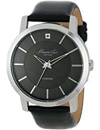 """Men's KC1986 """"Rock Out"""" Stainless Steel Diamond-Accented Watch with Black Leather Band"""
