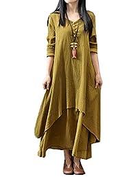 Womens Fake Two Piece Cotton Linen Long Sleeve Baggy Maxi Dress