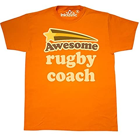 Inktastic - Rugby Coach Awesome T-Shirt Large Safety Orange - 761 Rugby