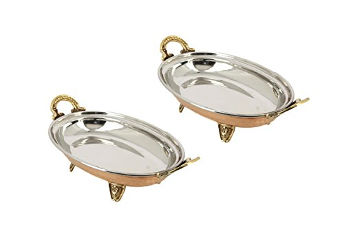 ShalinIndia Handmade Tableware Copper Steel Serving Dish Indian Dinnerware Serveware 8 Inch,982 Grams-Set Of 2 (Copper Indian Ware compare prices)