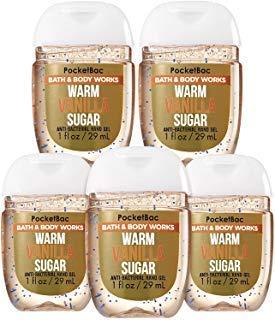 Bath and Body Works Pocketbac Hand Sanitizers Warm Vanilla Sugar 5 Pack bundle. 1 Oz