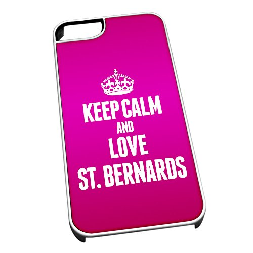 Bianco cover per iPhone 5/5S 2072Pink Keep Calm and Love St. Bernards