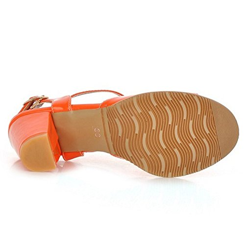 TAOFFEN Mujer Clasico Peep Toe Sandalias Tacon Ancho Tacon Medio Al Tobillo Zapatos Naranja