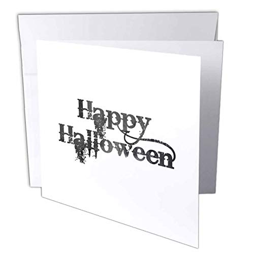 3dRose InspirationzStore - Occasions - Happy Halloween Grunge Grungy Scary Writing Font Dark Grey Text - 6 Greeting Cards with envelopes (gc_318144_1) ()