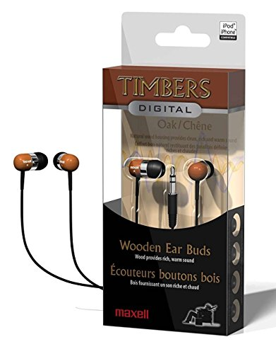 Maxell Digital Oak Wooden Timbers Stereo Earbuds