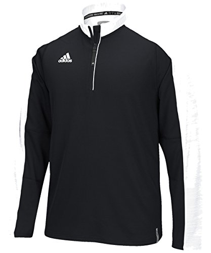 adidas Men's Climalite Modern Varsity Long Sleeve 1/4 Zip - Black/White - Small (Men Team Varsity Jackets)