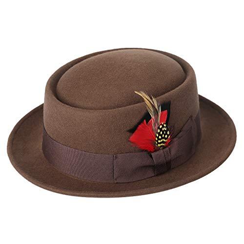 Deevoov Men s Wool Felt Fedora Pork Pie Hat Short Brim Outback Cap with  Wide Band Bow 6f7dc657424e