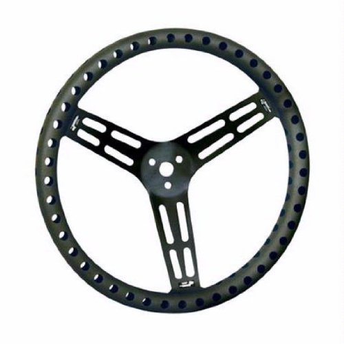 Longacre Racing Products Steering Wheel 15in Flat Drilled Black 56867