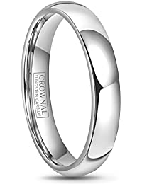 4mm 6mm 8mm 10mm Tungsten Wedding Band Ring Men Women Plain Dome Polished Size Comfort Fit Size 3 To 17