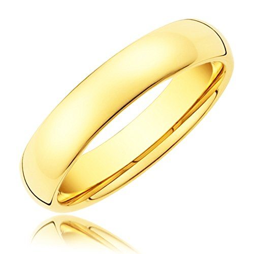 King Will 4mm Gold Plated High Polished Comfort Fit Domed Tungsten Carbide (4mm Comfort Fit Ring Band)