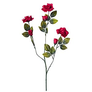 "Rose Spray 8711-02 Everyday Long stem Satin Rose X3 3 Buds 24"" Red 48"