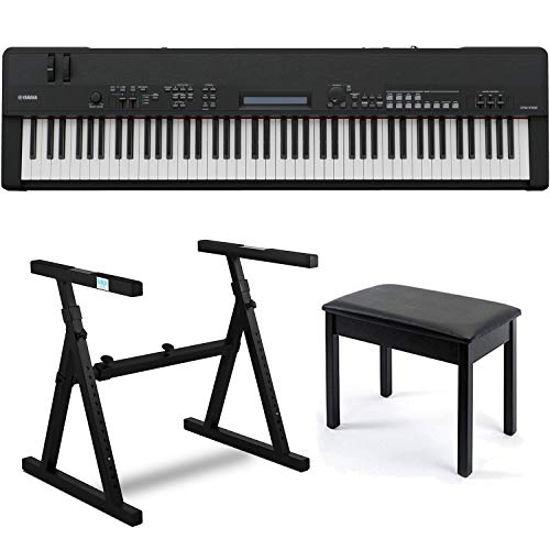 Yamaha CP40 88-Key Graded-Hammer Digital Stage Piano Bundle with Heavy Duty Z-Style Piano Stand and Black Padded Piano Bench