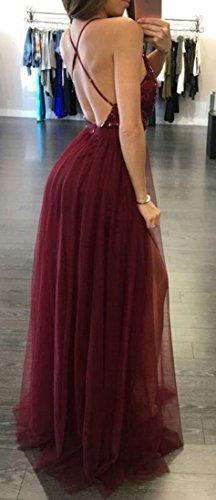 Patchwork Dos Nu Féminin Cromoncent Sexy En Mousseline De Soie Col V Longue Robe Sequin Paillettes De Vin Rouge