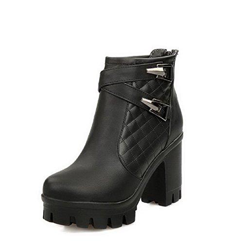AllhqFashion Damen Reißverschluss Hoher Absatz Rein Niedrig-Spitze Stiefel mit Metallisch, Schwarz, 35