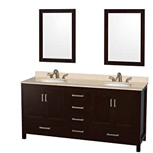 Wyndham collection sheffield 72 inch double bathroom vanity in espresso ivory marble countertop for Sheffield 72 double bathroom vanity
