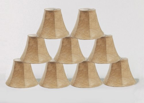 Urbanest Set of 9 Chandelier Lamp Shade 6-inch Bell, Faux Leather, Clip On
