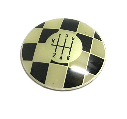 Convertible Speed 6 - MINI Cooper / Cooper S Shift Knob Checkered Brass Cap for 6 Speed Hatchback (R50 & R53) & Convertible (R52)