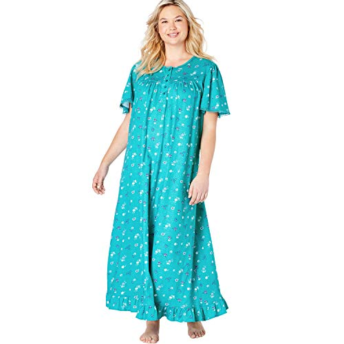 Dreams & Co. Women's Plus Size Long Floral Print Cotton Gown - Waterfall Bud, 4X
