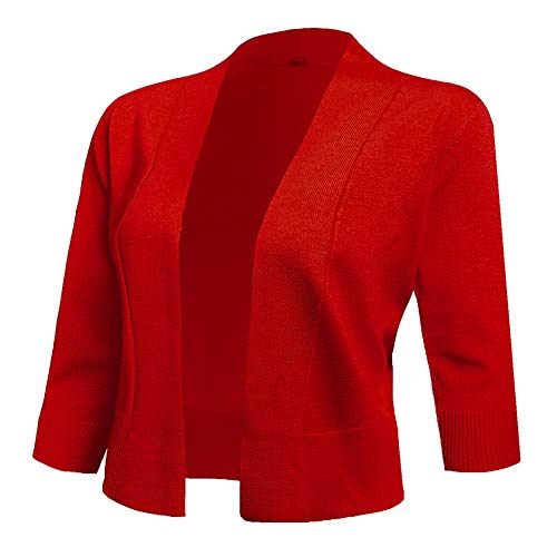 AAMILIFE Women's 3/4 Sleeve Cropped Cardigans Sweaters Jackets Open Front Short Shrugs for Dresses Red M