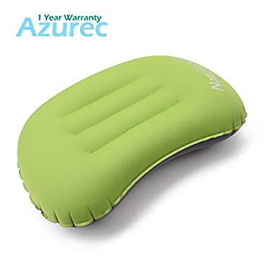 Azurec Ultralight Portable Compact Camping Travel Inflating Pillow Comfortable for Hiking Backpacking (Green)