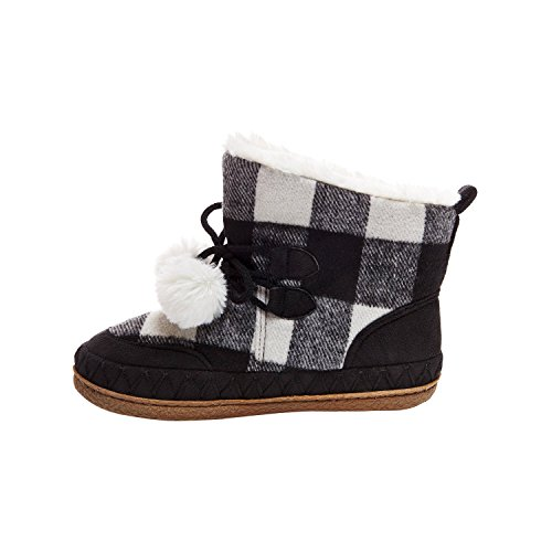 Women's Mad Love Carly Black and White Plaid Bootie Slippers Small (5-6) by Mad Love (Image #1)