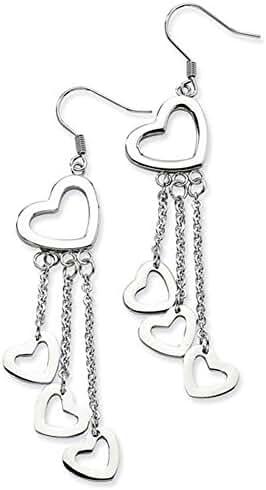 Long Dangle Cut-Out Heart Stainless Steel Earrings
