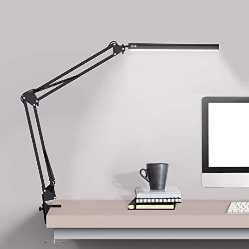 LED Desk lamp with clamp, Swing Arm Desk lamp, Adjustable Desk Light Eye-Care Table Light(3 Color Modes, 10-Level Dimmer, Eye Care) for Study, Reading, Home, Office, Dorms, Workshops, Studios
