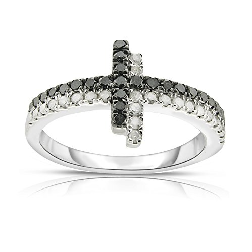 NATALIA DRAKE Sterling Silver Black and White Diamond Cross Collection (Cross Ring) ()