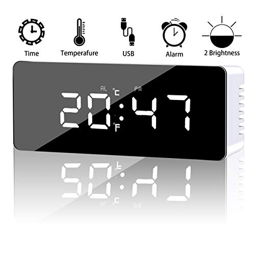 - Alarm Clock, Digital Alarm Clock with Large LED Display, 2 Level Brightness, Snooze Function, Mirror Surface, Dual Time and Temperature Mode, Powered by USB Charging Port or Battery, White