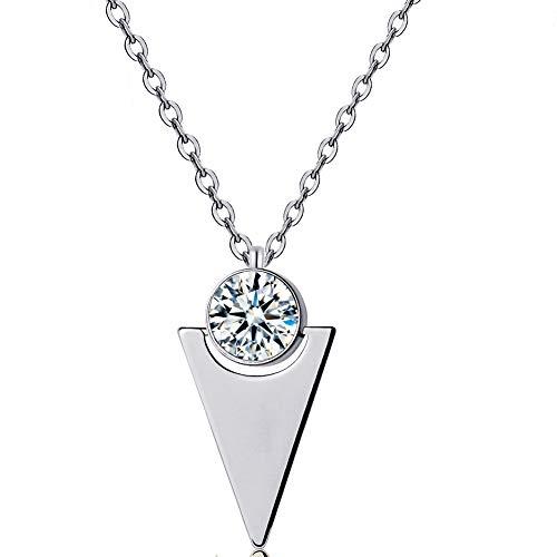 ZSE Jewelry Cubic Zirconia Necklace Silver CZ Minimalist Pendant Necklace for Women