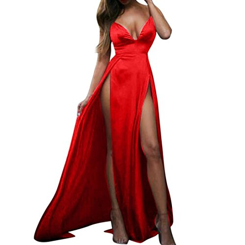 Boomboom Women V Neck Side Split Sleeve Evening Gown Long Dresses Red XL