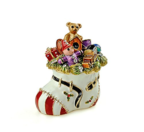 Gold Trinket Silver Crystal Plated (Treasures Jeweled Christmas Stocking Enameled Trinket Box)