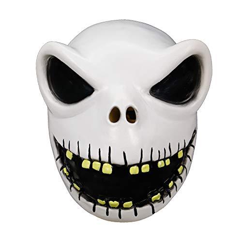 Halloween Costume Mask Men's The Nightmare Before Christmas Jack Skellington Cosplay Latex Mask (Model 1)]()
