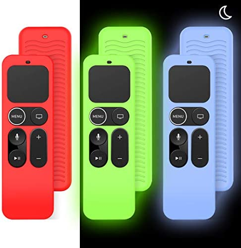 [3 Pack] Case for Apple TV 4K / fifth 4th Gen Remote,TOLUOHU Anti-Slip(Shockproof & Lightweight)Silicone Apple Remote Cover for New Apple Siri Remote Case Controller Holder Skin-Glow Blue Glow Green,Red