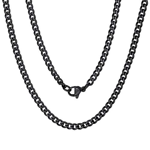 Black Chain Necklace Men Boy Link Curb Chain Gift Jewelry